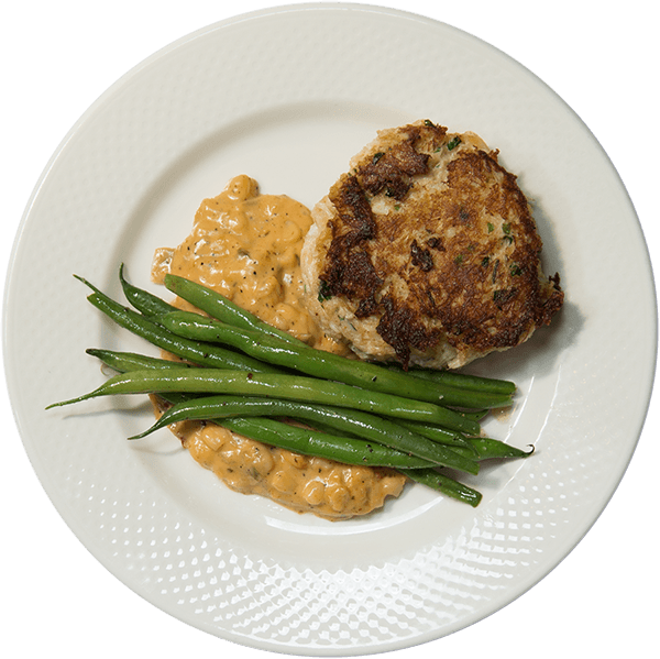 Crab Cakes with beans and creamed corn